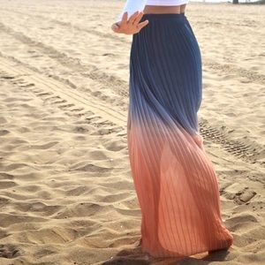 Cynthia Rowley Pleated Blue Peach Ombré Maxi Skirt